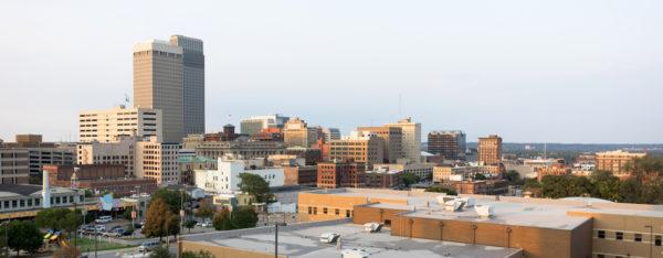 wide angle view of Omaha, Nebraska